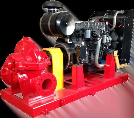 Bơm cứu hỏa ebara động cơ Diesel hai cửa hút