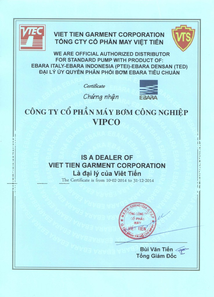 Dai ly bom ebara chinh thuc 2014